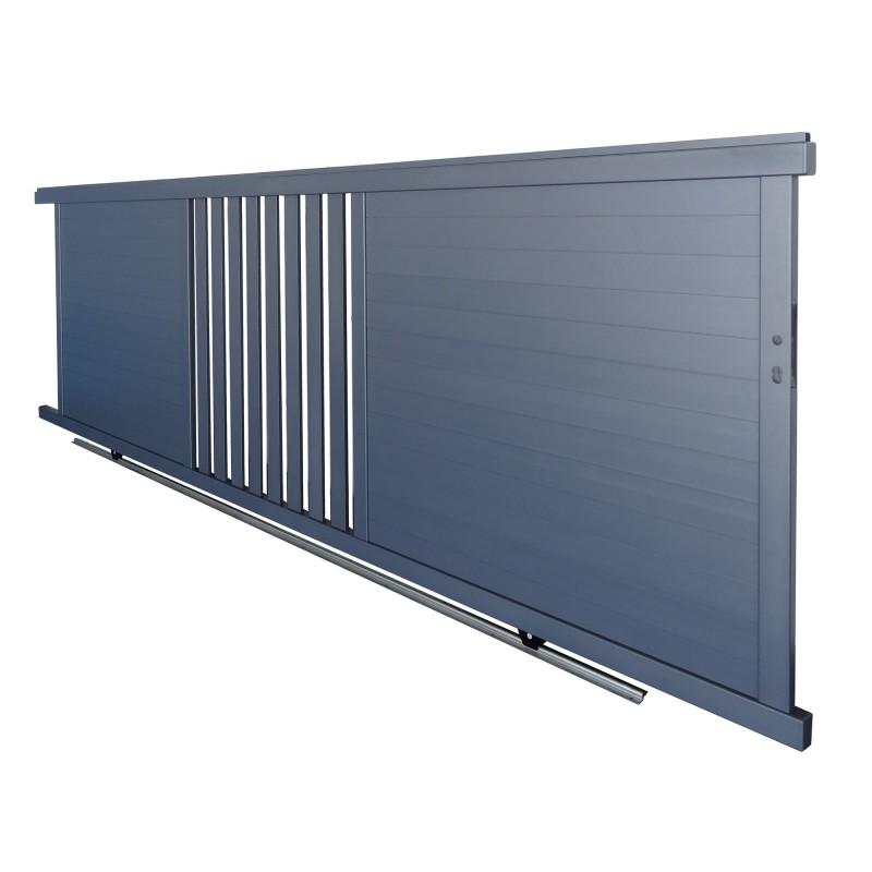 portail coulissant SL 4.08m gris, hauteur 1.42m