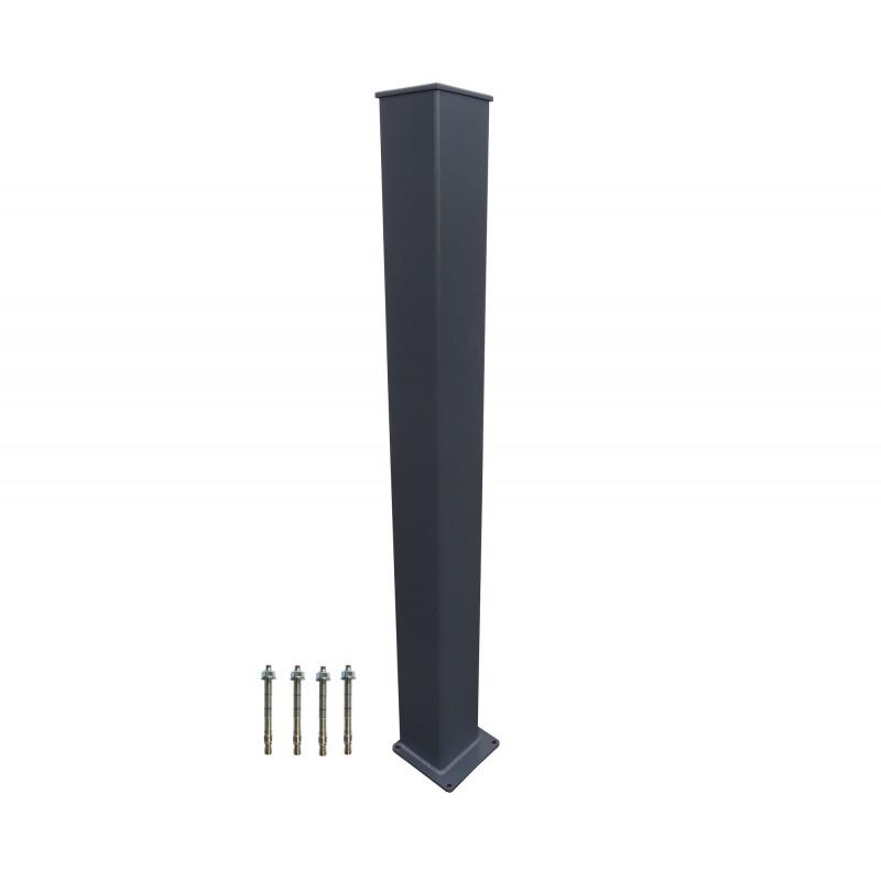 poteau alu 150x150mm sur platine soudée (gris RAL 7024)