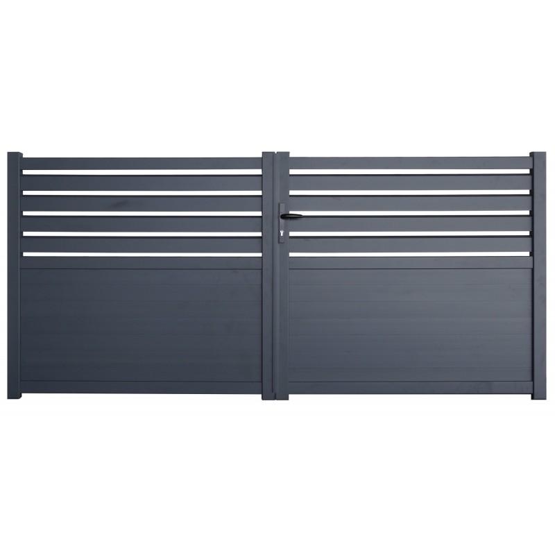 Portail aluminium Cambridge gris 3m
