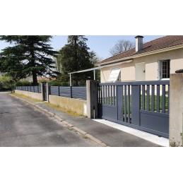 portail SL-125 gris 3.58m avec travées lames M09